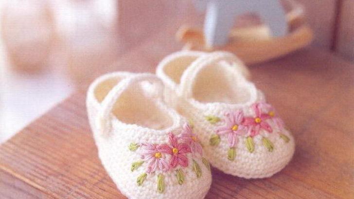 İşlemeli Kız Bebek Patiği