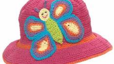 Çiçekli ve Kelebekli Şapka