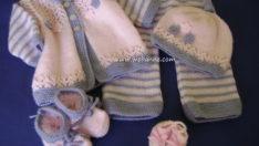 Çizgili Hırka Pantolon Takımı