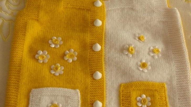 Sarı Beyaz Bebek Yeleği